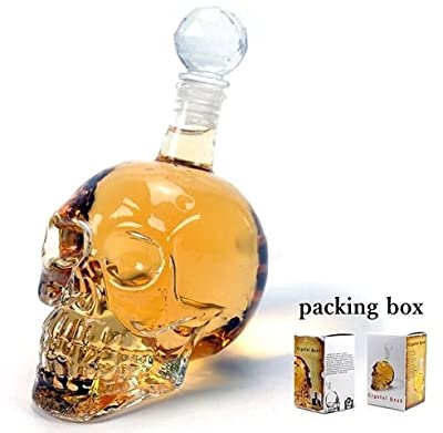 thitiwat Crystal Skull Vodka Bottles Skull Head Bottle Creative Gothic Wine Vodka Decanter 125ML 550ML 1000ML 4Sizes