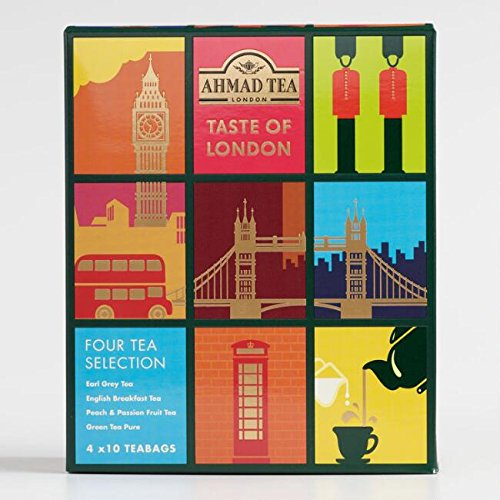 Ahmad Tea Taste of London, 40 Tea Bags: Earl Grey, English Breakfast, Peach and Passion Fruit, and Pure Green (Ahmad Peach)