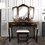 Vanity Beauty Station,Large Tri-Folding Necklace Hooked Mirrors,6 Organization 7 Drawers Makeup Dress Table Cushioned Stool Set,BROWN05