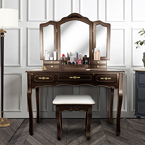 Vanity Beauty Station,Large Tri-Folding Necklace Hooked Mirrors,6 Organization 7 Drawers Makeup Dress Table with Cushioned Stool Set - Espresso ()