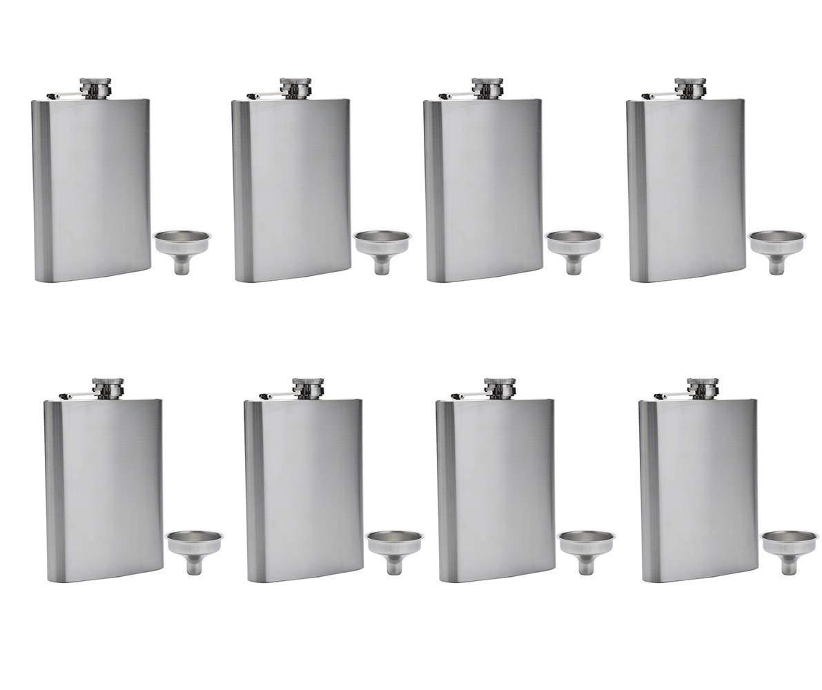 FF Elaine Stainless Steel Flasks,Easy Pour Funnel is Included, 8 oz, Set of 8