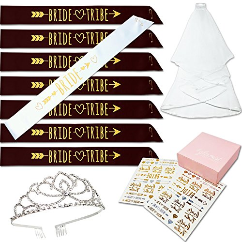 #glamist Bachelorette & Bridal Shower Bride Tribe Sash Favors Set - 8 Sashes, Rhinestone Tiara, Satin Veil, and 52 Temporary Tattoos. The Perfect Bridal Party - Bridal Brides Shops Princess
