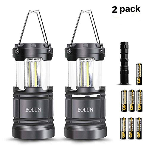 BOLUN LED Camping Lantern, COB Portable Outdoor Camp Light Collapsible Flashlights Hand Held Camping Lamp Hiking Hunting Fishing, Emergency Hurricane Outages (7AA Battery Powered Included) 2 Packs