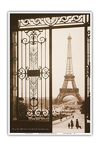 Paris, France - Eiffel Tower (Tour Eiffel) - View from the Trocadéro, Palais de Chaillot - Vintage World Travel Poster c.1925 - Master Art Print - 13in x 19in (Antique Prints Reproduction)