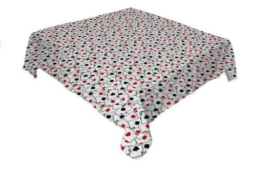 Poker Dinning Tabletop Decoration Scattered ACES of Spades and Hearts Winning Hand Design Graphic Illustration Red Black White Printed Tablecloth Small Square Tablecloth 36 by 36 inch