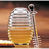 Prodyne Clear Acrylic Bee Hive Honey Jar Pot with Lid Server Dipper Dripper New
