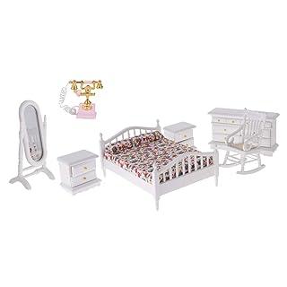 P Prettyia Kit di Mobili di Moda con Modellismo Telefonico per Casa Bambole in Scala 1/12 Colore Bianco
