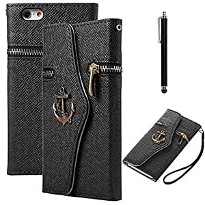 LCJ PU Leather Zipper Pirate Boat Design Flip Case with Stylus for iPhone 5/5S (Black)