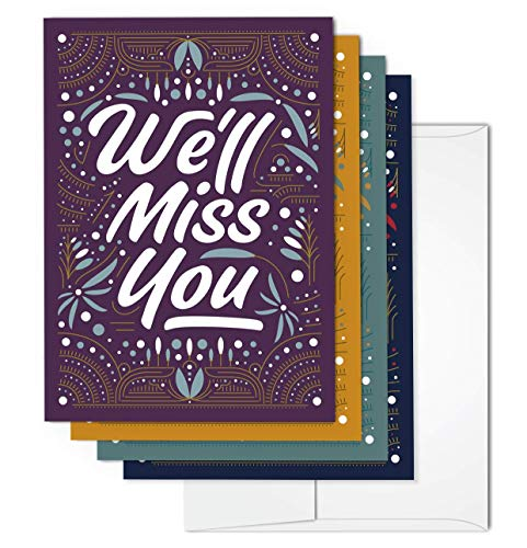We'll Miss You Greeting Card Set | Includes 36 cards and - Cards Greeting Wishes Best