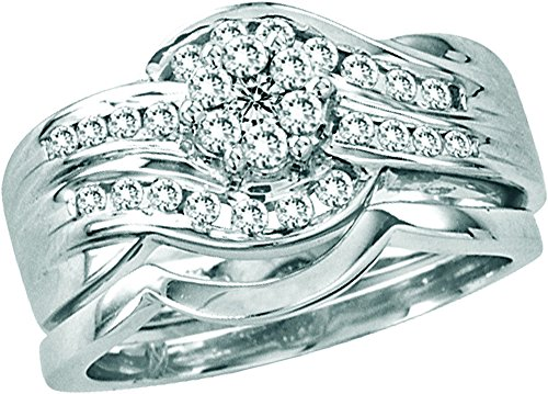 14kt White Gold Womens Round Diamond Bridal Wedding Engagement Ring Band Set 1/2 Cttw by JawaFashion