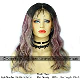 3T Ombre Balayage Smoky Purple Style Light Dirty Blonde Purple Body Wavy Glueless Full Lace Human Hair Wigs With Baby Hair For Women (18inch 130%)