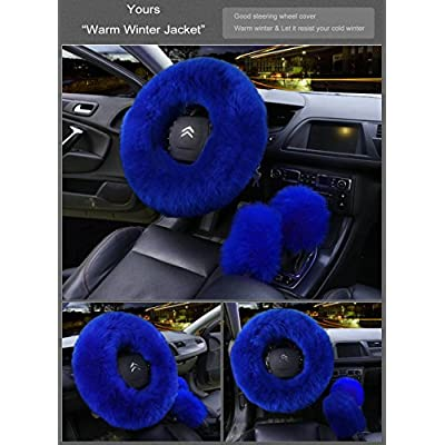 Younglingn Car Steering Wheel Cover Gear Shift Handbrake Fuzzy Cover 1 Set 3 Pcs Multi-Colored with Winter Warm Pure Wool Fashion for Girl Women Ladies Universal Fit Most Car(Royal Blue): Automotive