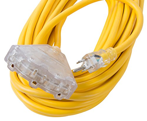 Bergen Industries Inc OC501233T Extra Heavy-Duty Outdoor Triple Tap Extension Cord, 50 ft, 12 AWG, 15A/125V AC by Bergen Industries Inc (Image #2)