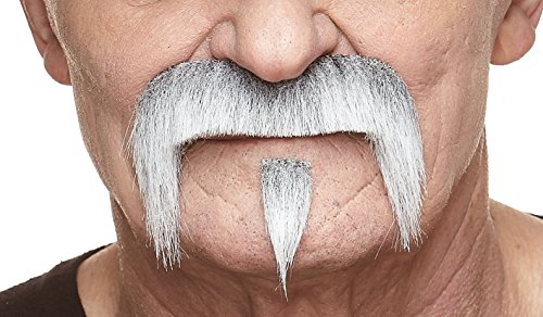 Mustaches Self Adhesive Fake Mustache, Novelty, The Zappa False Facial Hair, Costume Accessory for Adults, Gray with White Color ()