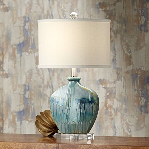 - Mia Coastal Table Lamp Blue Drip Ceramic Off White Oval Shade for Living Room Family Bedroom Bedside Nightstand - Possini Euro Design