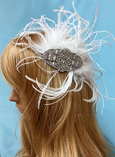 Feather Rhinestone Headpiece, Great Gatsby Headpiece, Art Deco Feather Comb