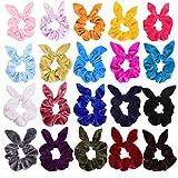 KECUCO 20 Colors Hair Scrunchies Velvet Scrunchy Rabbit Bunny Ear Elastic Hair Bands Hair Ties Ponytail Holders for Women or Girls(Bunny Ear)