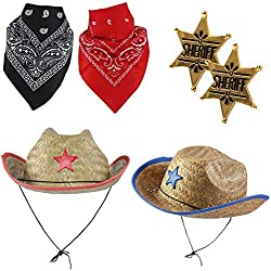 Funny Party Hats Sheriff Costume - Cowboy Hat with Cowboy Accessories - Western Sheriff Set