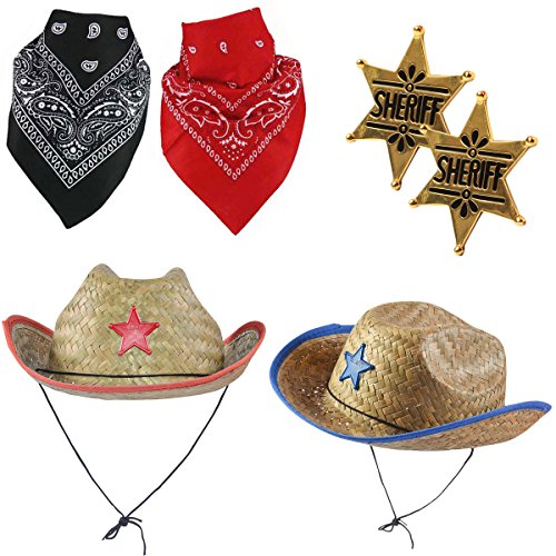 Hat Childrens Cowgirl Costume Accessory (Sheriff Costume - Cowboy Hat with Cowboy Accessories - Western Sheriff Set Funny Party Hats)
