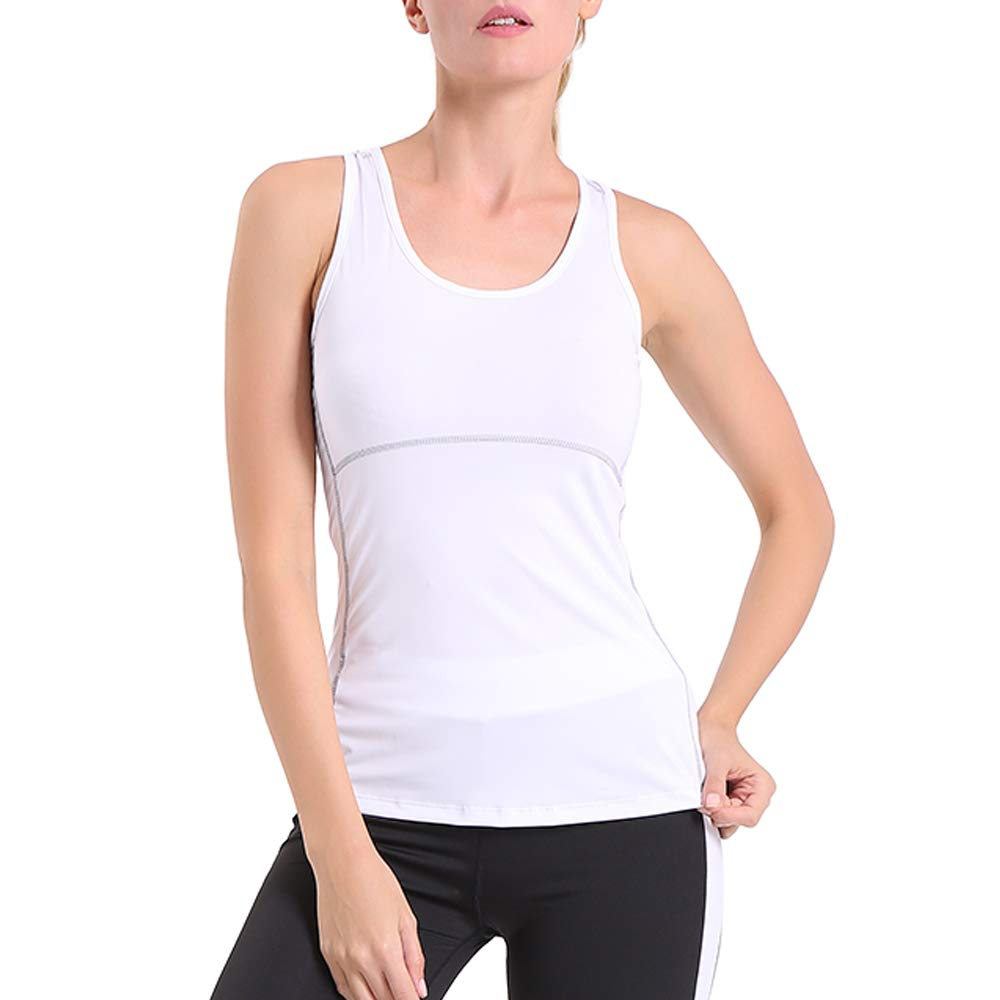 ENIDMIL Women's Compression Shirts Base Layer Dry Fit Tank Top (S, White)