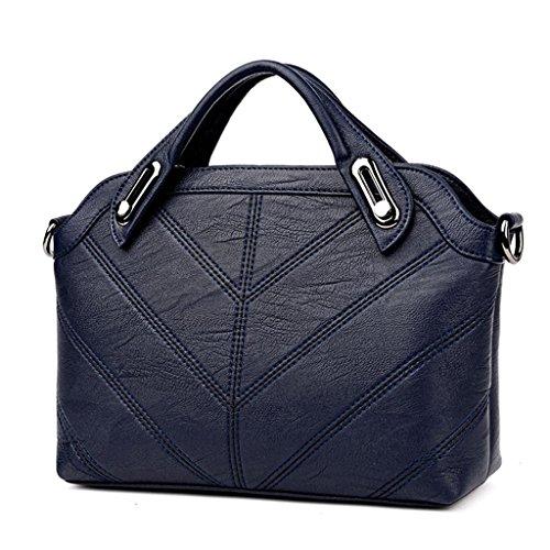 NVBAO Donne Borse a tracolla singola borsa della pelle di pecora Pacchetti trasversali diagonali Moda semplice Sei colori Shopping lavoro, pink deep blue