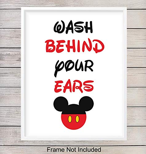 Wash Behind Your Ears Typography - Wall Art Print - Ready to Frame (8X10) Photo - Perfect Gift For Disney World Fans - Disneyworld - Great For Bathroom and Home Decor (Disneyworld Christmas)
