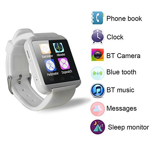 Bluetooth Smart Watch WristWatch U8 UWatch Fit for Smartphones IOS Apple iphone 44S55C5S Android Samsung S2S3S4Note 2Note 3 HTC Sony Blackberry (White)