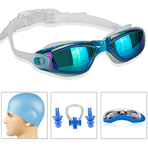 GAOGE-Swim-GogglesSwimming-Goggles-Swim-Cap-Case-Nose-Clip-Ear-Plugs-Triathlon-Swim-Goggles-Mirror-Coated-Lenses-Anti-Fog-Shatterproof-UV-Protection-for-Adult-Men-Women-Youth-Kids-LakeBlue