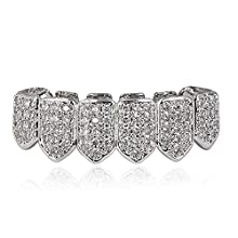 JINAO 18K Gold Plated Macro Pave CZ Iced-Out Grillz with Extra Molding Bars Included (Silver Bottom)