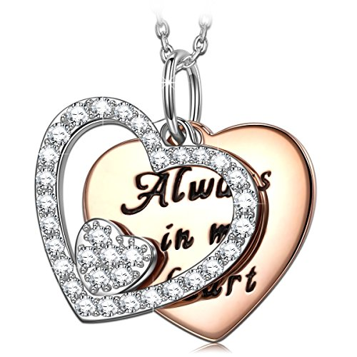 PRINCESS NINA Valentine Gift Open Heart Silver Micro CZ Pave Pendant Necklace for Women, Best Friend, 17.5