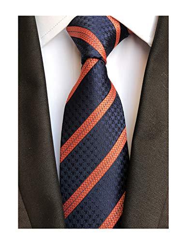 Mens Navy Blue Orange Stripe Tie Spring Seft Poly Woven Party Cool Necktie 3.15