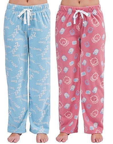 mujer pantalones de andar por casa Pijamas De Forro Polar Pantalones Pijama Pantalones (pack 2