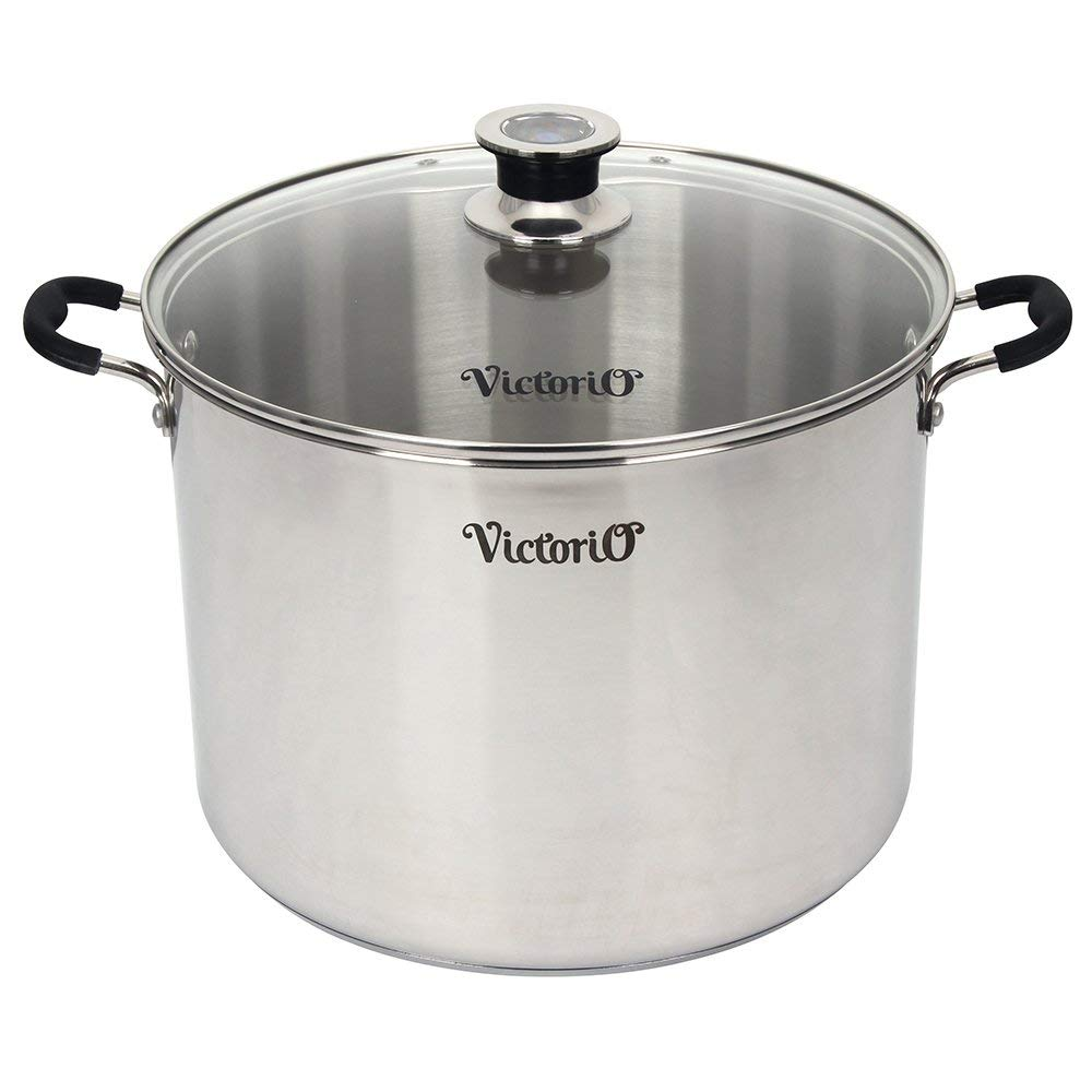 Stainless Steel Multi-Use Canner with Temperature Indicator by VICTORIO VKP1130 (Renewed)