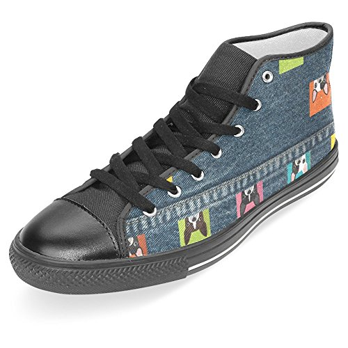 Canvas Jeans Bulldog Sneakers Fashion Women Form Shoes Top InterestPrint Shoes White Lace Flat Up Trainers High amp; 5Hw1BOqZx