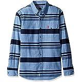 U.S. Polo Assn. Men's Stripe, Plaid Or Print Long Sleeve Single Pocket Sport Shirt, 9747-Pale Blue, XXL