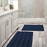 Navy Blue Bathroom Rugs Slip-Resistant Extra Absorbent Soft and Fluffy Thick Striped Bath Mat Non Slip Microfiber Shag Floor Mat Dry Fast Waterproof Bath Mat (Set of 2 - 20'' x 32''/17'' x 24'')
