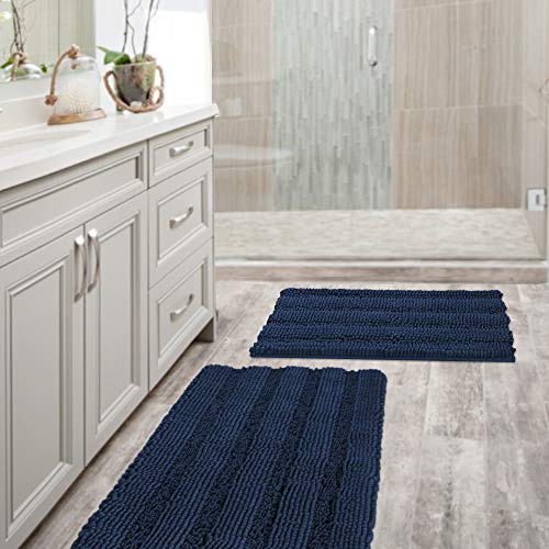 Navy Blue Bathroom Rugs Slip-Resistant Extra Absorbent Soft and Fluffy Thick Striped Bath Mat Non Slip Microfiber Shag Floor Mat Dry Fast Waterproof Bath Mat (Set of 2 – 20″ x 32″/17″ x 24″)