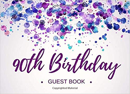 90th Birthday Guest Book Personalized Party Visitor Memory Registry