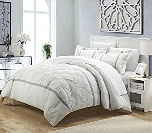 Amazon Com 3 Piece Off White Pinch Pleated Duvet Cover
