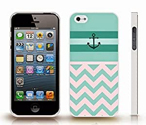 iStar Cases? iPhone 4 Case with Chevron Pattern Mint/ Turquoise Stripe Teal Anchor , Snap-on Cover, Hard Carrying Case (White)
