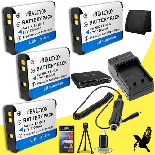 Four Halcyon 1200 mAH Lithium Ion Replacement EN-EL19 Battery and Charger Kit + Memory Card Wallet + Multi Card USB Reader + Deluxe Starter Kit for Nikon COOLPIX S6800 Digital Camera and Nikon EN-EL19 by Halcyon