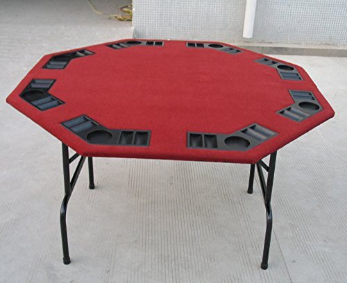 52 burgundy felt octagon poker card game table with for 52 folding table
