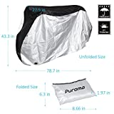 Puroma Bike Cover Outdoor Waterproof Bicycle Covers Rain Sun UV Dust Wind Proof with Lock Hole for Mountain Road Electric Bike, Black & Silver, XL