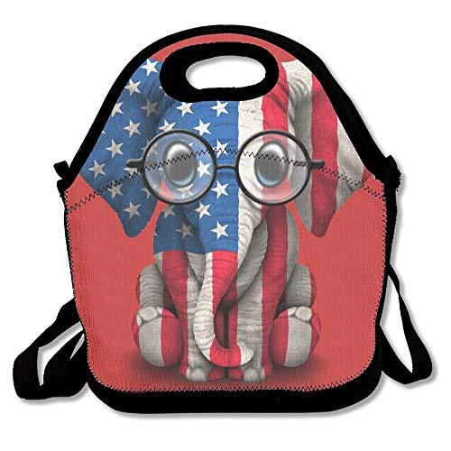 (Nopofjiobr TDynasty Fashion Designer Lunch Box Outdoor Travel Picnic Lunch Box Bag Messenger Lunch Bag Baby American Elephant Adjustable Body Strap Bag Handbag for School Office)