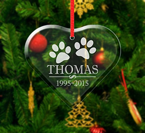 Paw Prints Personalized Pet Dog Cat Glass Ornament Passed Away Sympathy In Loving Memory Rest in Peace Pet Loss Ornament Gift Christmas Pet Gifts