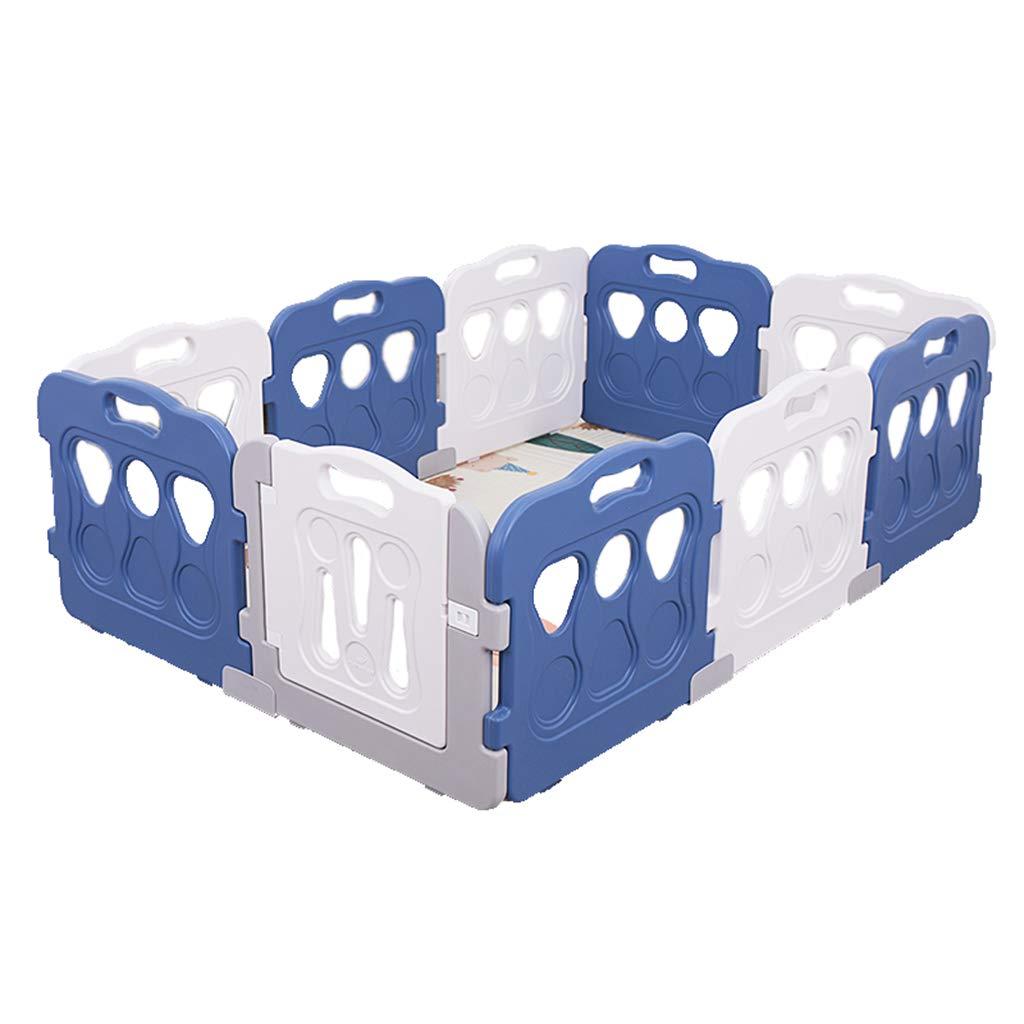 ベビーサークル ドアが付いている携帯用赤ん坊のベビーサークル - 幼児のための取り外し可能な遊び場、屋内/屋外の、高さ60cm、青/白、133×196×60cm   B07MGTHX61