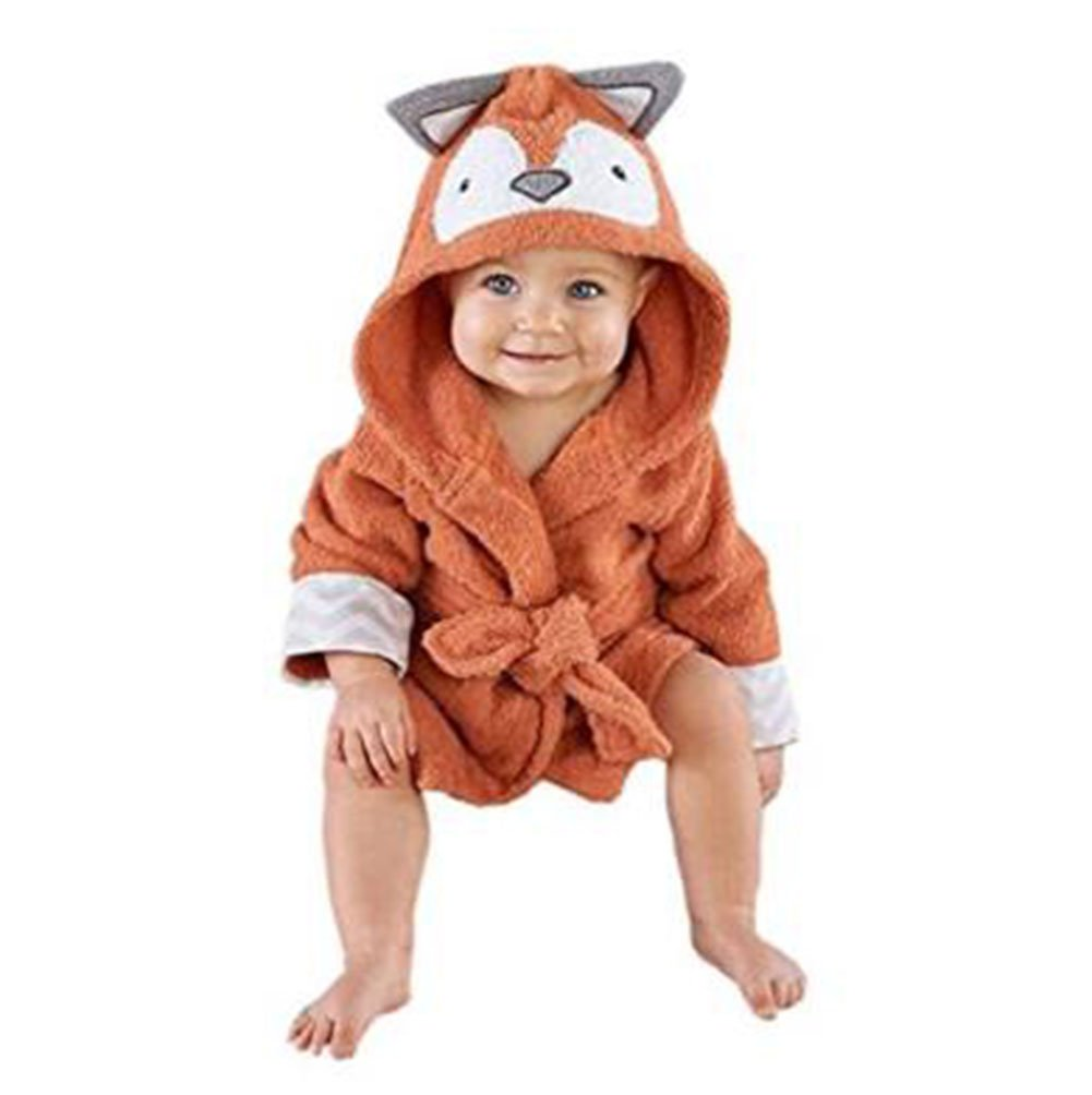 Mainaisi Baby Hooded Bathrobe Towels Cotton Cartoon Animal Wrap for Infant 0-3years (Grey Mouse)