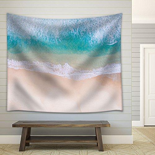 Tropical Beach White Sand Clear Waves Fabric Wall