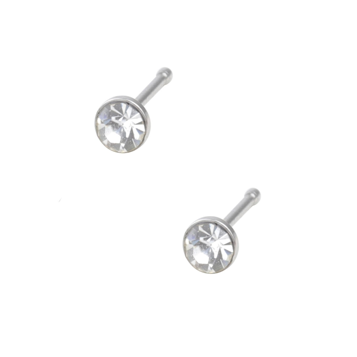 Ruby 20G Straight Nose Bone Studs Rings Pins Mixed Color Stainless Steel Rhinestone Piercing Nose Studs Rings Body Piercing 1.5mm