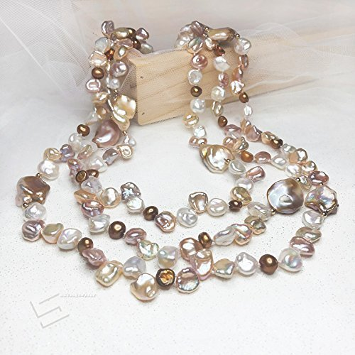 Multicolored Keshi Pearl Long Necklace, Feshwater Cultured Pearls & 14K Gold Filled Necklace, 57